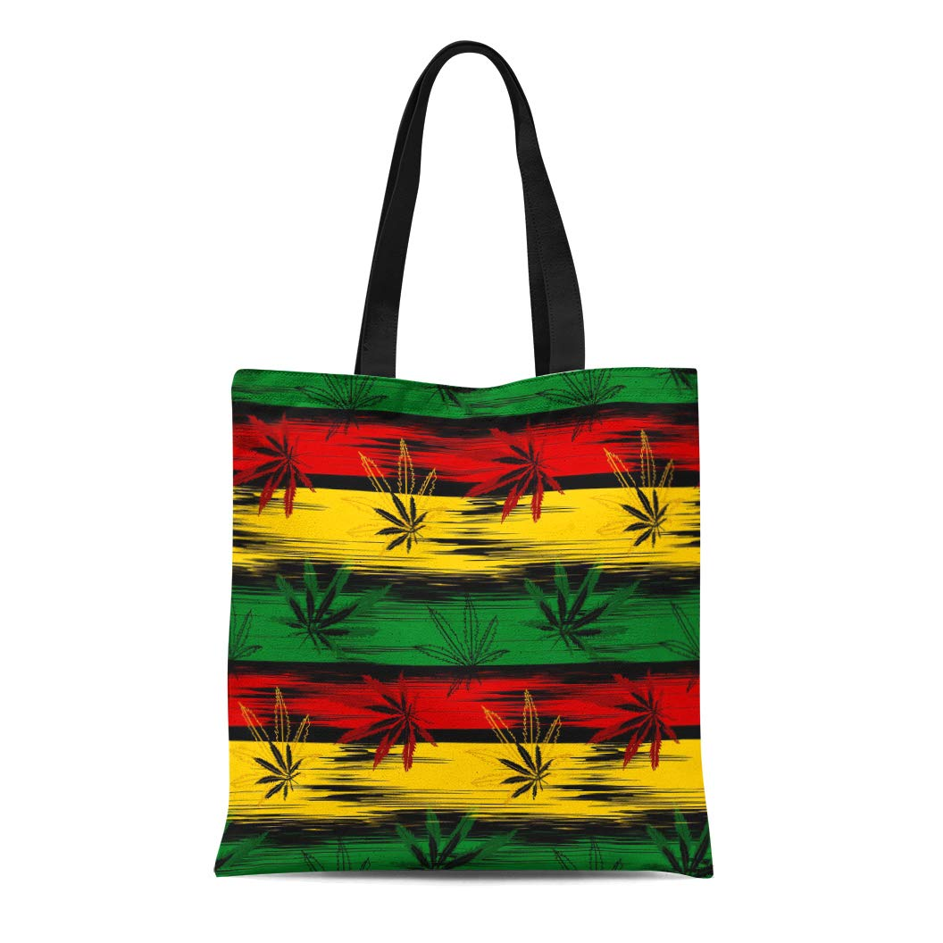 e89ab6fa60b9 Amazon.com: Semtomn Canvas Tote Bag Shoulder Bags Green Jamaica ...