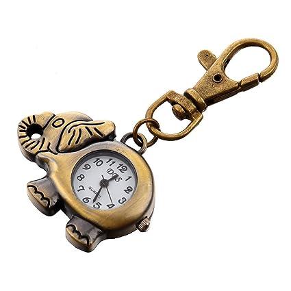 SODIAL(R) Reloj Llavero Colgante de Elefante Color Bronce Gancho de Langosta