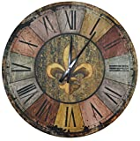LuLu Decor, Vintage French Country Style Rustic Round Wood Wall Clock 23.50″, Large Roman Numerals (Vintage) Review