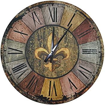 wood wall clock. lulu decor, vintage french country style rustic round wood wall clock 23.50\ p