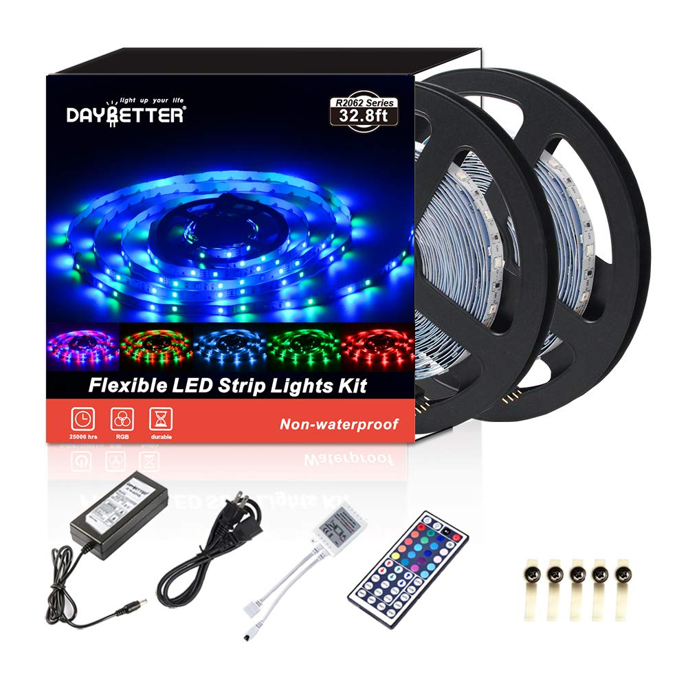 Led Strip Lights 32.8ft 10m 600LEDs Non Waterproof Flexible Color Changing RGB SMD 3528 LED Strip Light Kit with 44 Keys IR Remote Controller and 12V Power Supply NO White Color by DAYBETTER (Image #1)