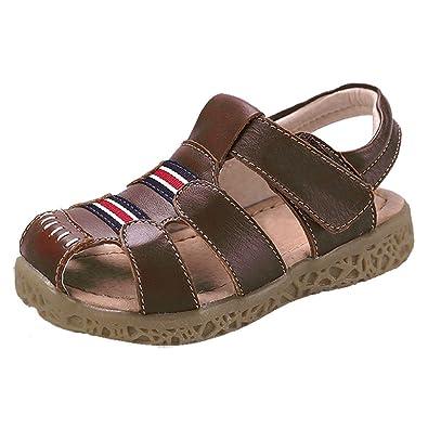 0d8362df8a730 GESIMEI Mixte Enfant Sandales Bout Fermé Légère Été Chaussure Cuir Souple  Bébé Fille Garçon Marron 21
