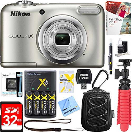Nikon COOLPIX A10 16.1MP 5x Optical Zoom NIKKOR Glass Lens Digital Camera (Silver) + 32GB SDHC High Speed Memory Card+ AA Spare Batteries + Accessory Bundle