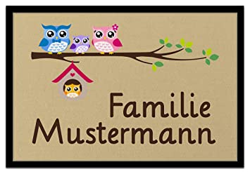 Amazon De Individuell Bedruckte Fussmatte Eulenfamilie In 3