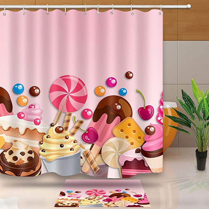 Kids Bathroom Waterproof Polyester Fabric Shower Curtain Creative Candy Lollipop