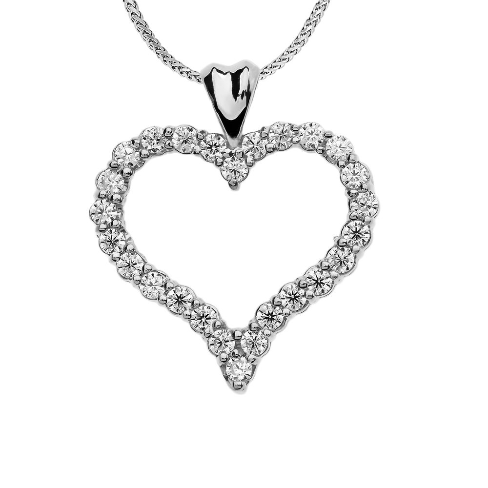 1 Carat Diamond Heart Pendant Necklace in 14k White Gold, 22''