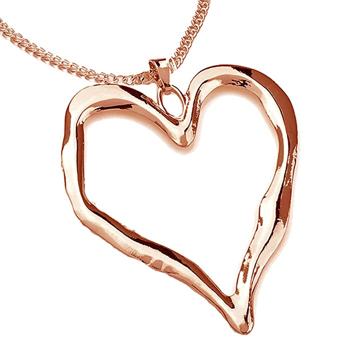 Ladies rose gold long chain very large chunky heart pendant fashion costume jewellery necklace tihKdy  sc 1 th 225 & Ladies rose gold long chain very large chunky heart pendant fashion ...