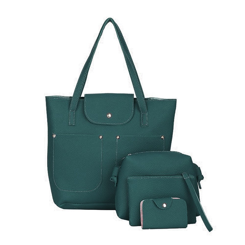 4pcs Ladies Leather Handbag Shoulder Tote Satchel Messenger Bag (Green)