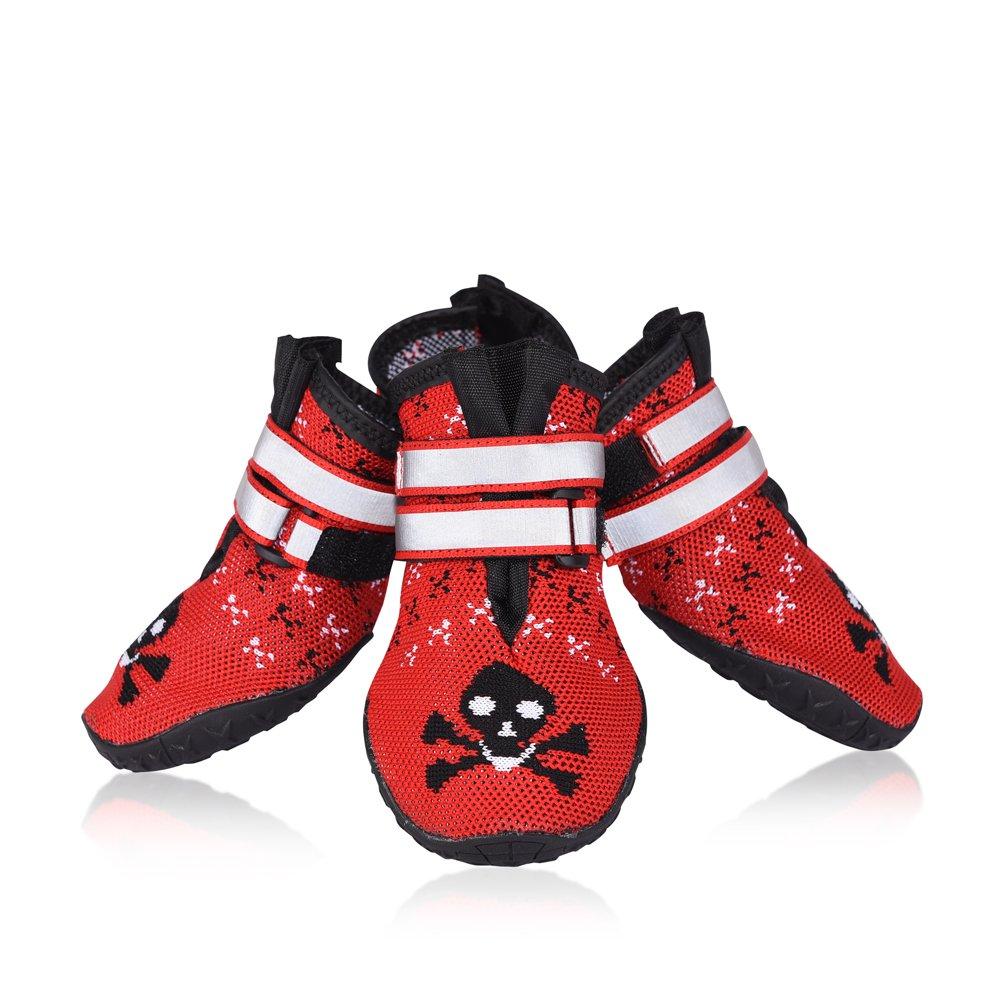 Petacc 4Pcs Chaussure pour Chien Antidérapant Bottes pour Chien Respirantes Chausson Chien Rouge (Rouge-6)