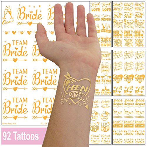 92 Hen Party Tattoos and Bride Temporary Transfer Accessories - Bride Squad Bride Tribe Team Bride Bridal Party Flash Stickers - Gold Metallic for Wedding Hen Night Do & Bachelorette Party - 7 Sheets