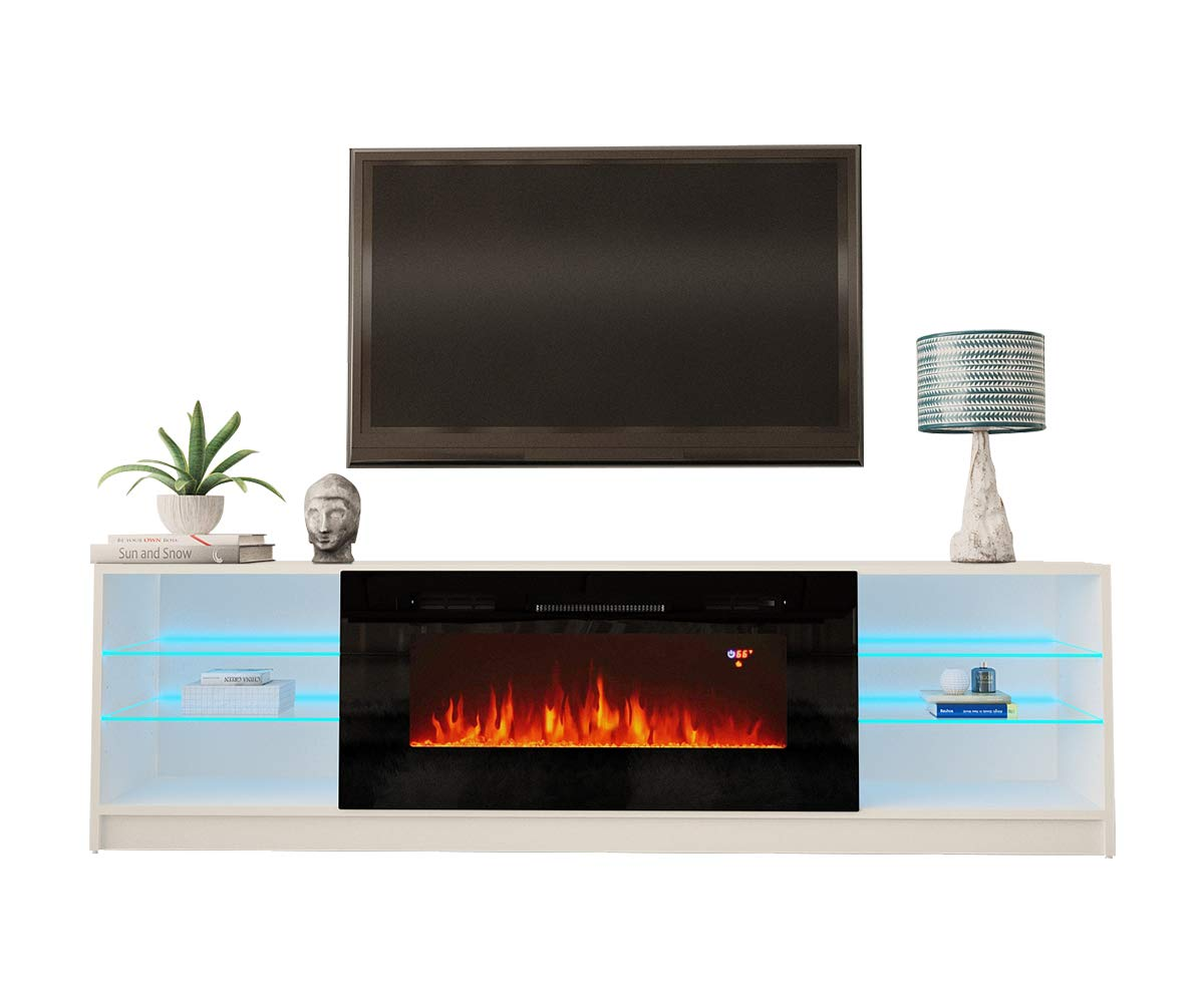 MEBLE FURNITURE & RUGS Boston 01 Electric Fireplace Modern 79'' TV Stand by MEBLE FURNITURE & RUGS