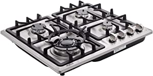 Hotfield HF524-SA05 24 inch Gas Cooktop stovetop 4 burners LPG/NG Dual Fuel 4 Sealed Burners Stainless Steel 4 Burner Built-In 110V AC pulse ignition with safety device