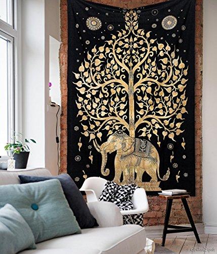 pread Throw Bohemian Backdrop Medallion Yoga Meditation Picnic Garden Mandala Beach Throw Boho Gypsy Dorm Decor Living Room Hippie Hippy Elephant Tree Of Life Wall Hanging Tapestry ()