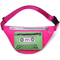 MIAIULIA 80s Neon Waist Fanny Pack for 80s Costumes,Festival Travel Party (OneSize, pink2)