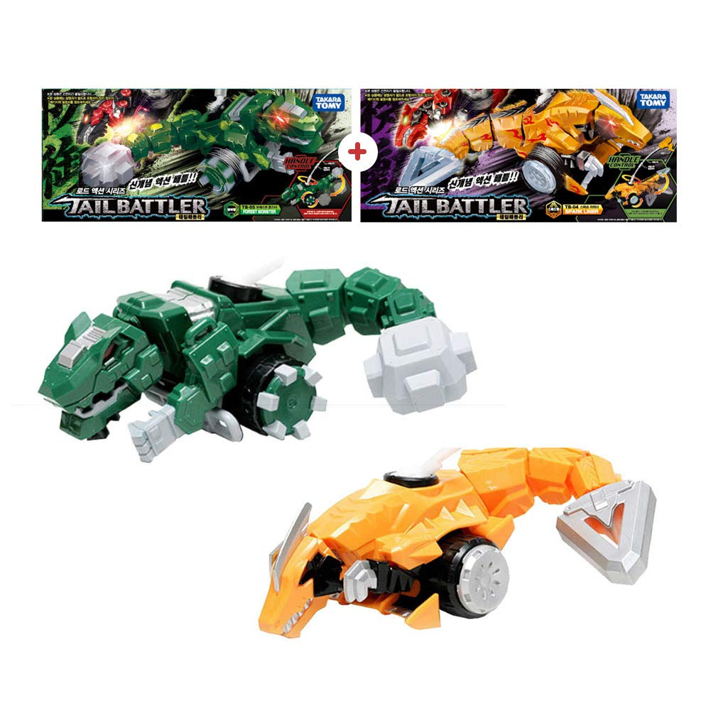 Tail Battler Dinosaurs Spinning Top Attack Spinning Head and Tail Forest Monster + Spark Liner (Set of 2)