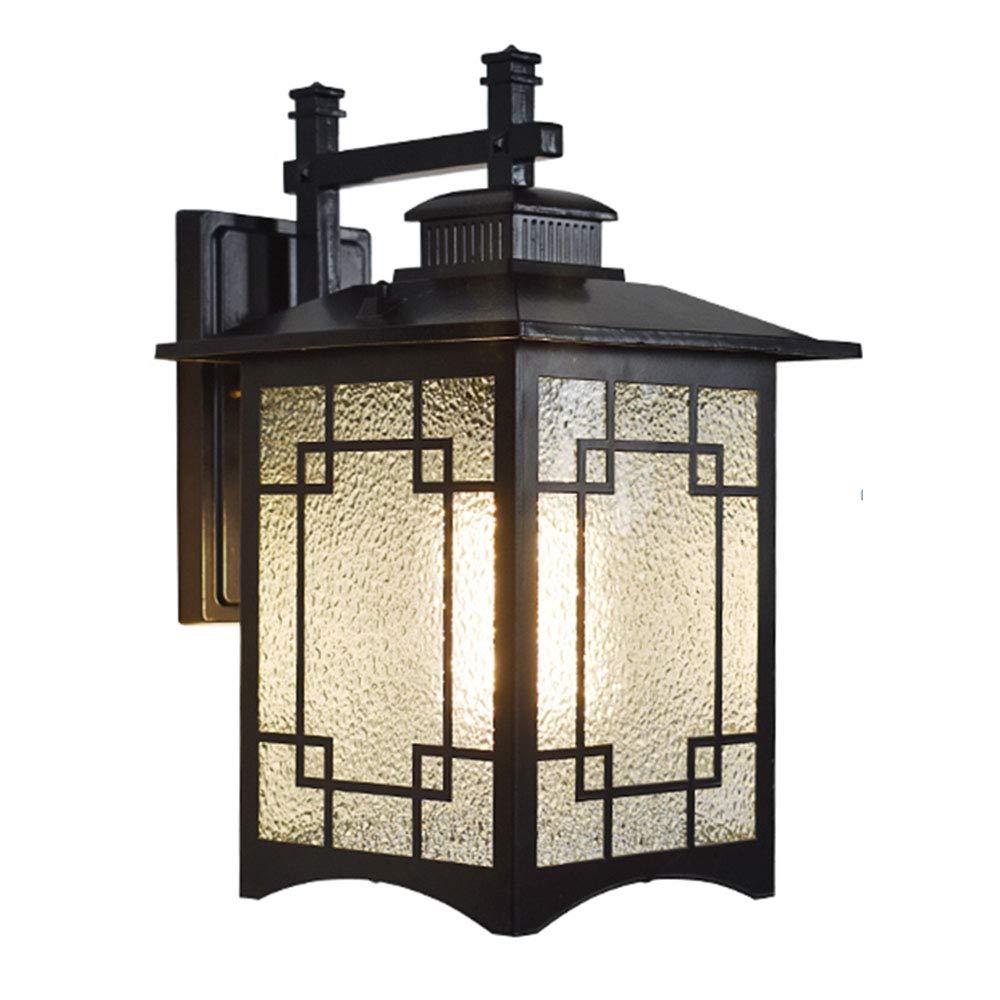 E27 Licht Retro Außenwandleuchte Schwarz Aluminium Wandbeleuchtung Antik Industriell Stil Outdoor Lamp Wasserdichte Design Glas Lampenschirm IP23 Gartenlampe Balkonlampe 23  30  42CM
