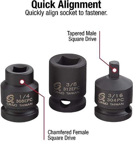 "Male /& Female 11 Piece 3//8/"" Drive Square Pipe Plug Sockets T/&E Tools 93811"