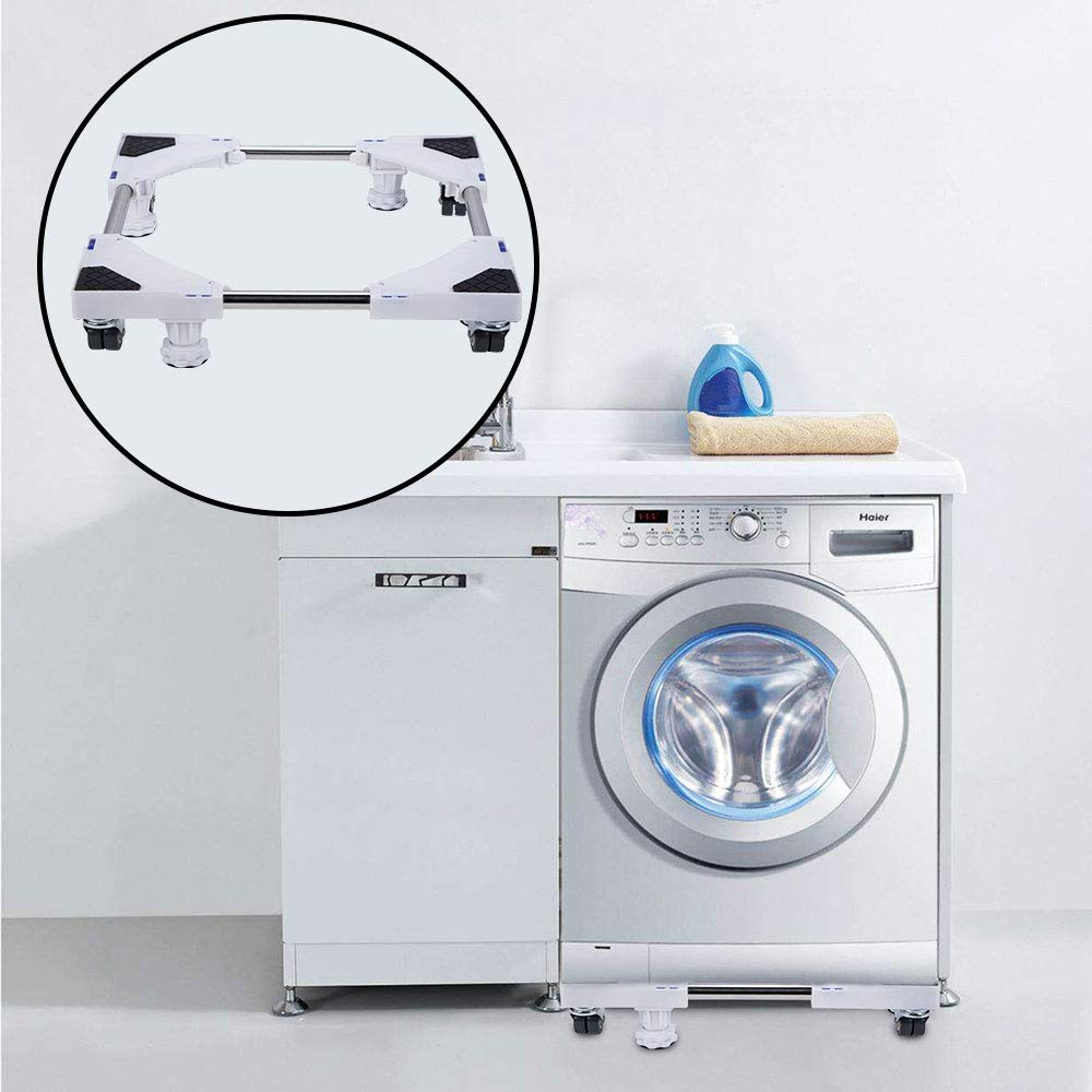 Washing Machine and Refrigerator/… LUCKUP Multi-functional Movable Adjustable Base with 4 Locking Rubber Swivel Wheels and 8 Strong Feet Size Adjustable Universal Mobile Case Roller Dolly for Dryer