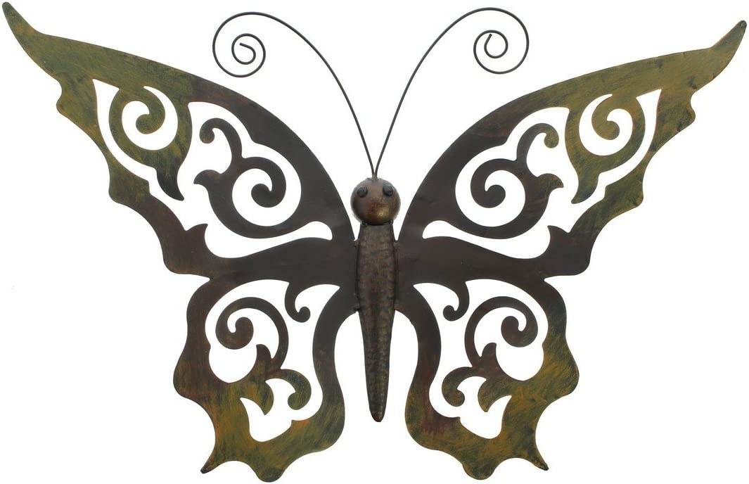 Metal Butterfly Wall Decor – Black Metal Butterfly Wall Art with Ornate Wings Product SKU HD229084