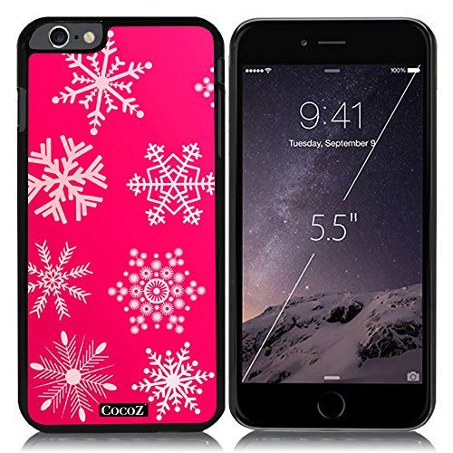 Crush Womens Eyeglasses - New Apple iPhone 6 s Plus 5.5-inch CocoZ® Case Beautiful Christmas Snow PC Material Case (Hot Pink&Black PC Snowflake 19)