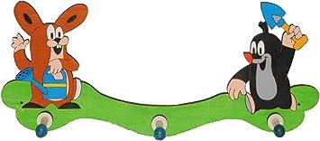 aus Holz für Kinde Pauli Garderobehaken der kleine Maulwurf mit Schaufel