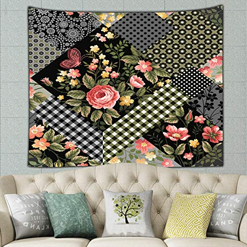 (zhufeifan Patchwork floralred Roses Tapestry Wall Hanging, Wall Tapestry with Art Nature Home Decorations for Living Room Bedroom Dorm Decor 50ʺ × 60ʺ)