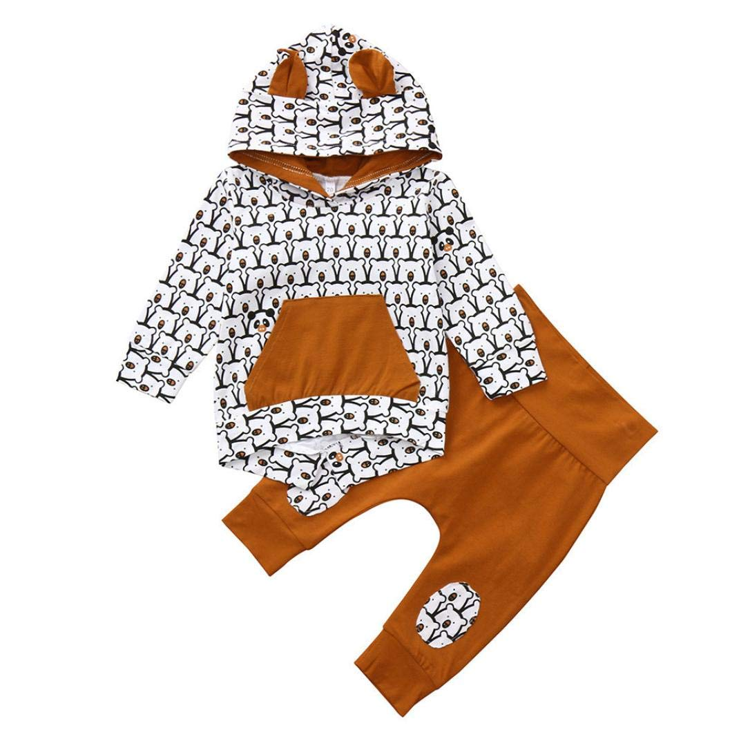 Newborn Autumn Cartoon Sets,Jchen(TM) Toddler Infant Baby Boys Girls Cartoon Bear Print Hooded Tops Pants Outfits for 0-24 Months (Age: 6-12 Months)