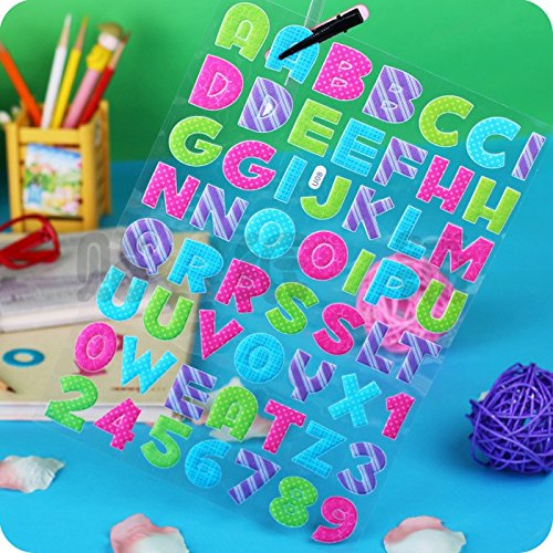 3 PACK, Multi-Colored Puffy Stickers, Alphabet Letters and Numbers. 3 Sheets included
