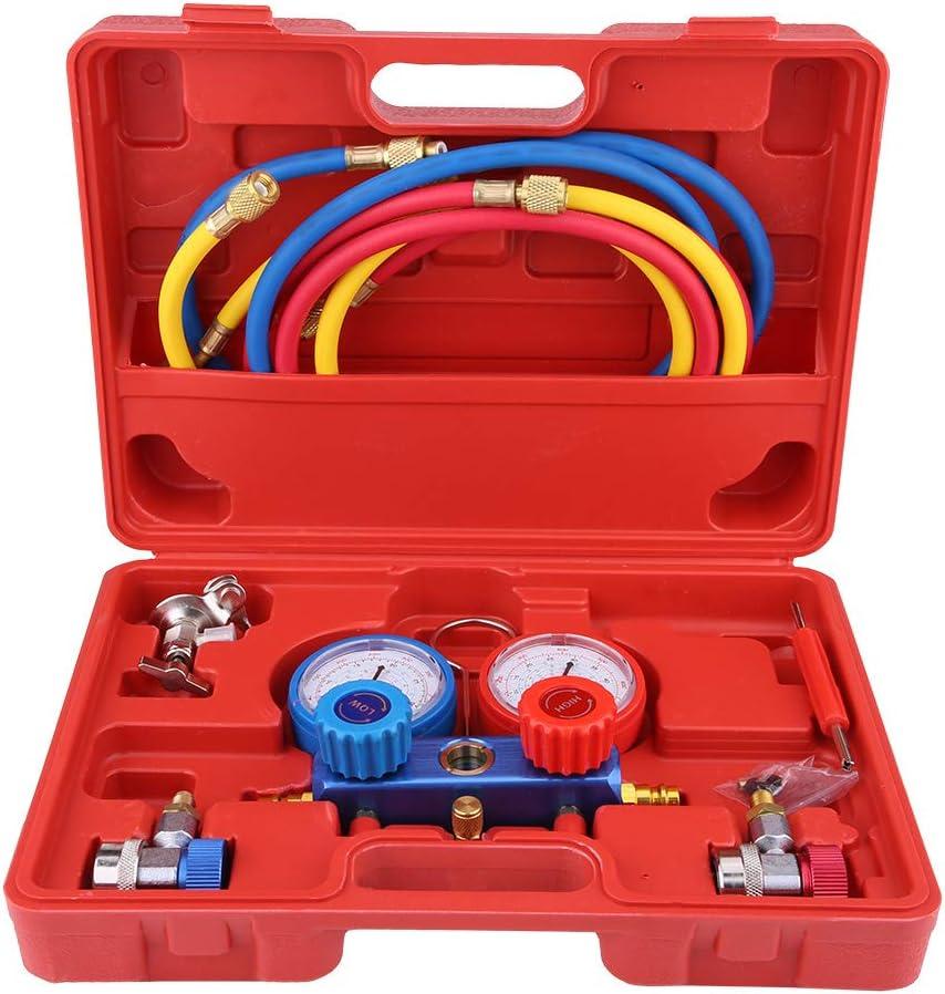 Juego de Manómetros de Diagnóstico de Aire Acondicionado, Herramientas de Aire Acondicionado de Refrigerante, con Manguera y Gancho para R134a