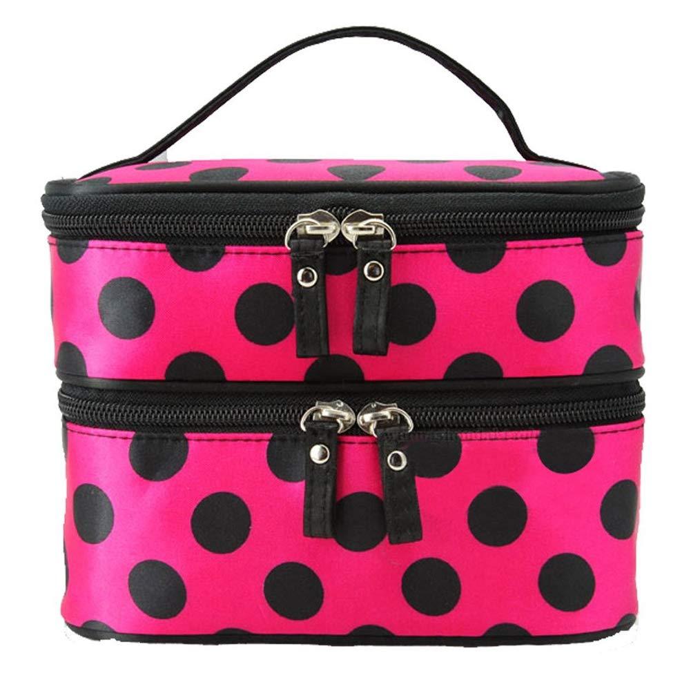 Hand Bag durevole Cosmetic doppio strato Polka Dot Design trucco dell'organizzatore del sacchetto di grande capienza organizzatore cosmetico per le donne Red Rose mxdmai