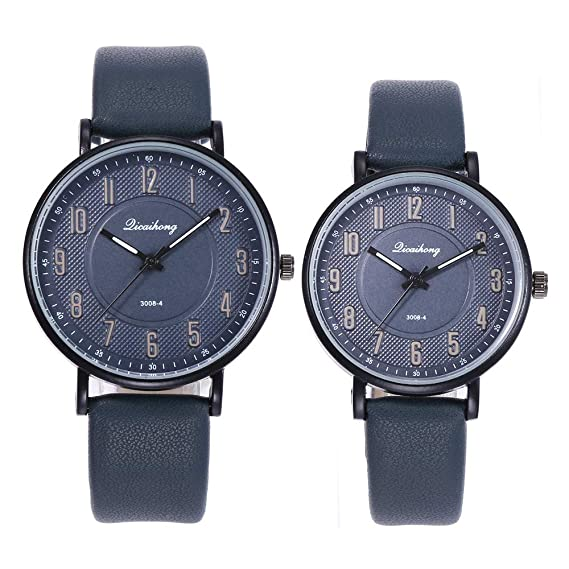 2PCS Couples Friends Casual Watches Iuhan 2 Pieces Couples Fashion Leather Band Analog Quartz Round Wrist