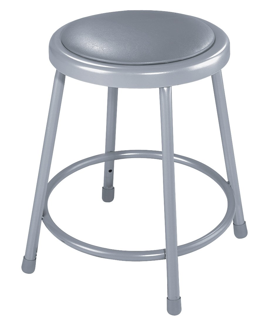 National Public Seating 6418 Steel Stool with 18'' Vinyl Upholstered Seat, Grey