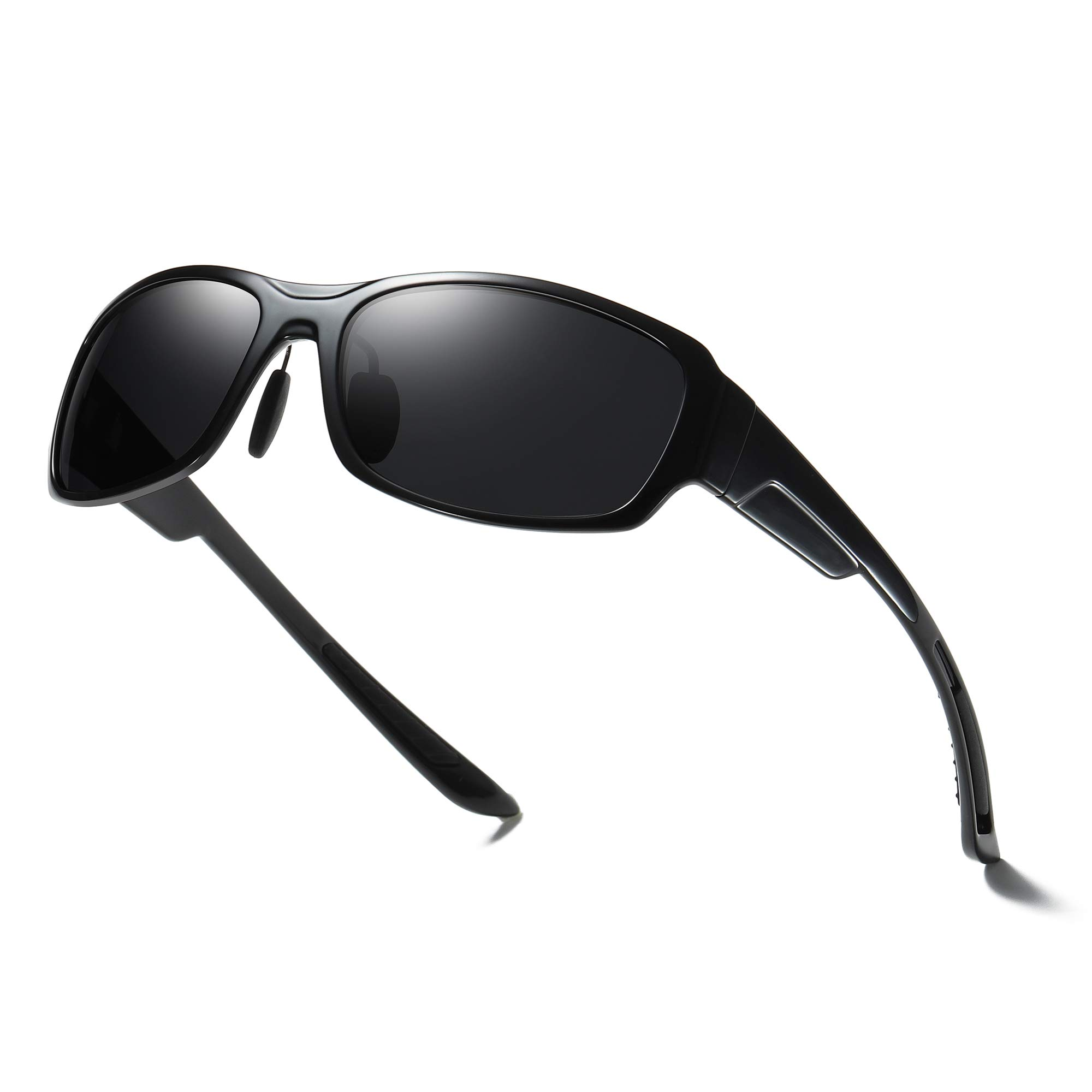 Polarized Sunglasses for Men Sport Rectangular Sunglasses Womens Mens Sunglasses 1.1mm UV400 Protection Lens/Tr90 Frame (Black Frame/Black Lens) by GOBIGER