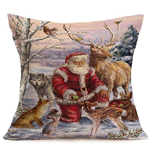 Merry Christmas Throw Pillow Covers Snowman Santa Claus Reindeer Home Decorative Cushion Cover Pillowcase 18 X 18 Inch Cotton Linen (C)