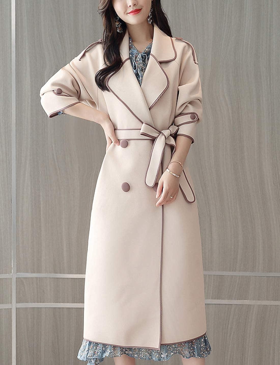 D.B.M Womens Double-Breasted Slim Long Fashion Elegant Windbreaker Jacket