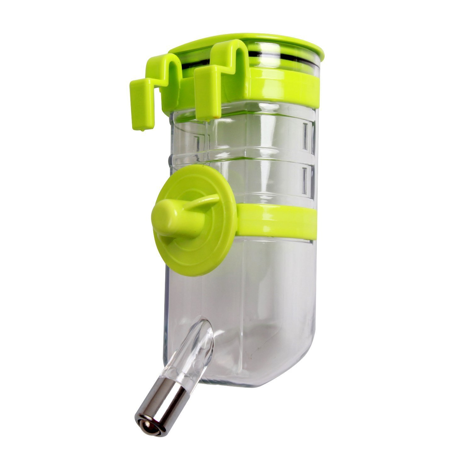 BXT Automatic Pet Water Bottle for Dogs Cats Rabbits Ferrets, 13.5 oz Capacity Rear-filling Water Feeder Hanging No-Drip Water Drinking Holder- Keep Your Pet Hydrated (Green)