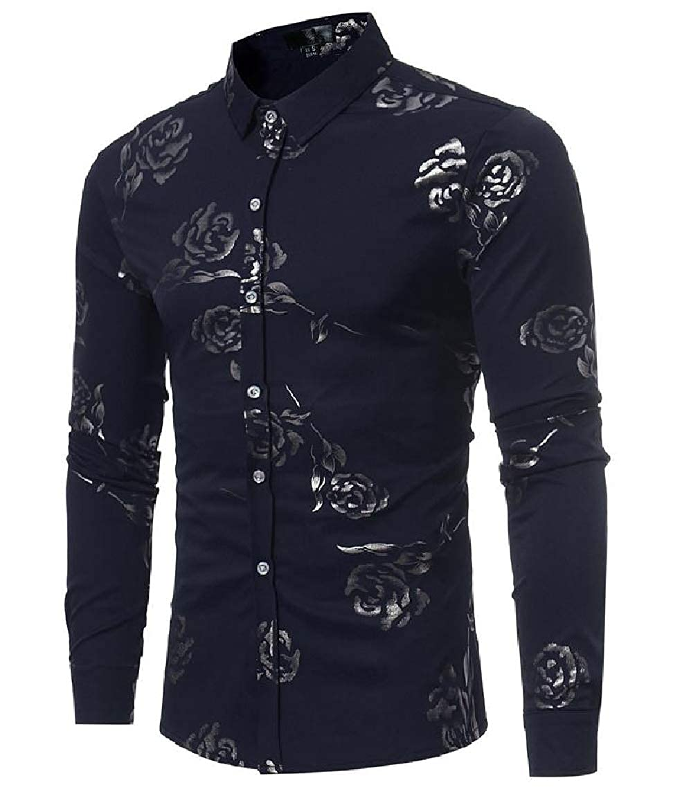 RingBong Mens Trim-Fit Long Sleeve Lapel Button Stylish Painting Tops Shirt