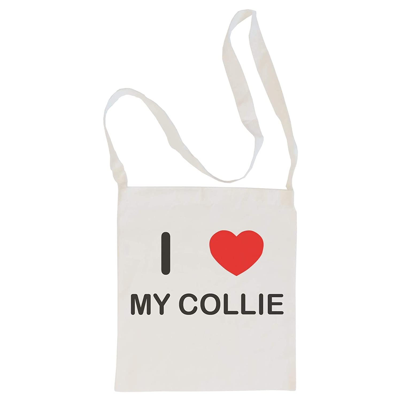 I Love My Collie Cotton Long Handle Sling Bag