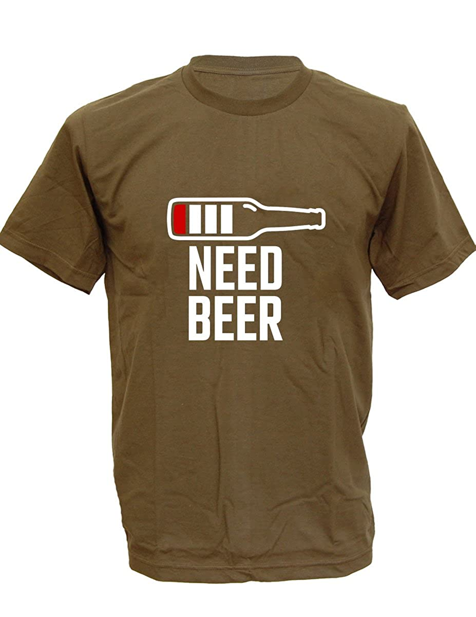 9a9dd78c2 Amazon.com: SODAtees Low Battery Need Beer Men's T-Shirt Funny Booze Drinking  Party Tee: Clothing
