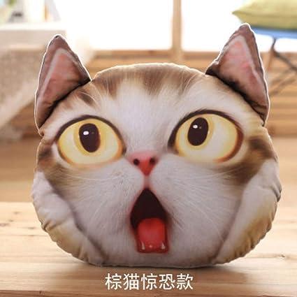 yfkgh Simulación Creativa, Cojín de Cabeza de Gato 3D ...