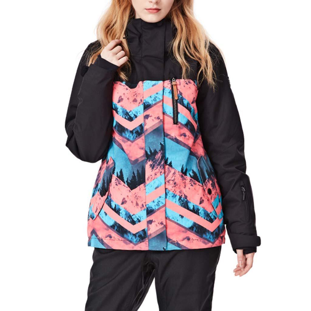 C M JIBO Frau Drucken Atmungsaktiv Warm halten Skijacke Abnehmbarer Hut Winddicht Schneeschutz Damen Draussen Skianzug