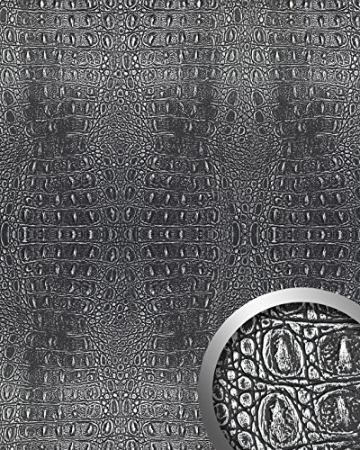 WallFace 13521 CROCO Wall panel textured 3D interior decor luxury wallcovering self-adhesive black silver | 2,60 sqm by Wallface (Image #1)