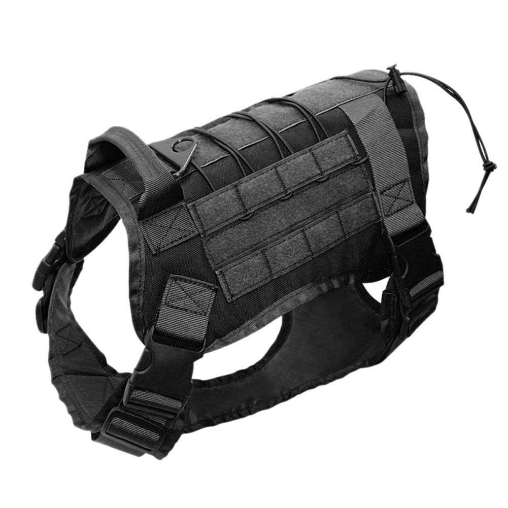 Black LargeLargeLarge Dog Tactical Vest Training Molle 1000D Nylon Nave a prova d'acqua militare con 3 Storage Bag Half Body, Black 3Bag,XL