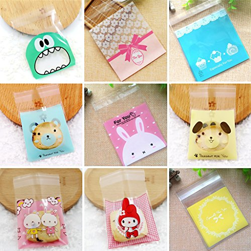 - Amrka 7x7cm Self-adhesive Cute Small Biscuit Plastic Gift Food Packing Bag Pack of 100