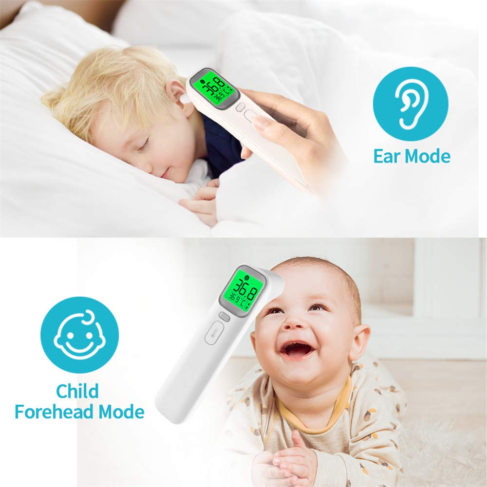 LOBKIN Baby Ear and Forehead Thermometer, Digital Thermometer, Infrared Ear Temporal Forehead Fever Thermometer for Baby Kids and Adult, Infrared Ear Temporal Forehead Fever Thermometer White