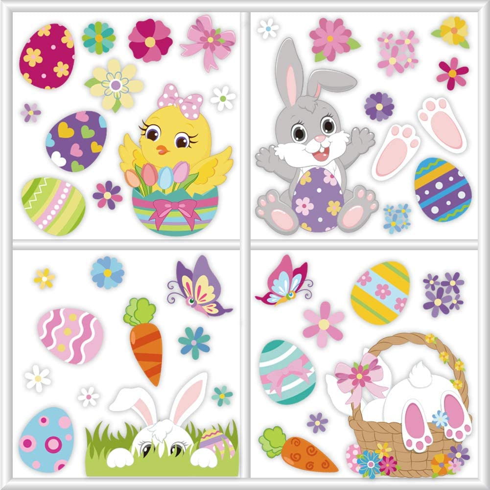 84PCS Easter Decorations Window Clings Bunny Chick Eggs Stickers for School Home Office Party Accessory Ornament Holiday Supplies