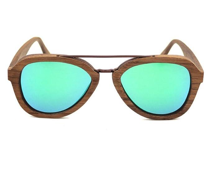 QIQIZHANG Gafas De Sol Nueva Moda Bamboo Glasses Metal Pilot ...