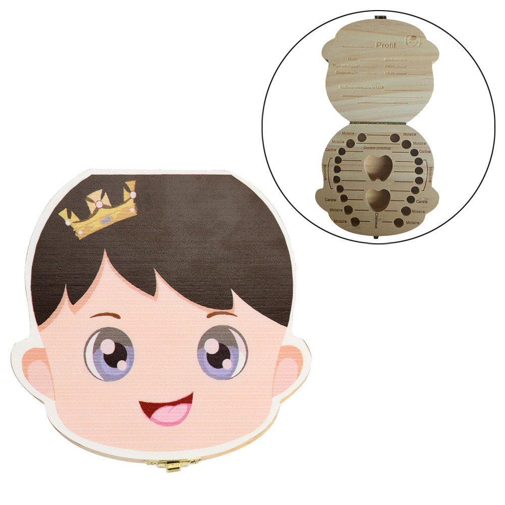 Ularma Organisateur de boîte à dents pour Dents de lait de chéri Sauver Bois Boîte de rangement pour Enfants Garçon Fille (Fille) Amaone Animaux fantastiques