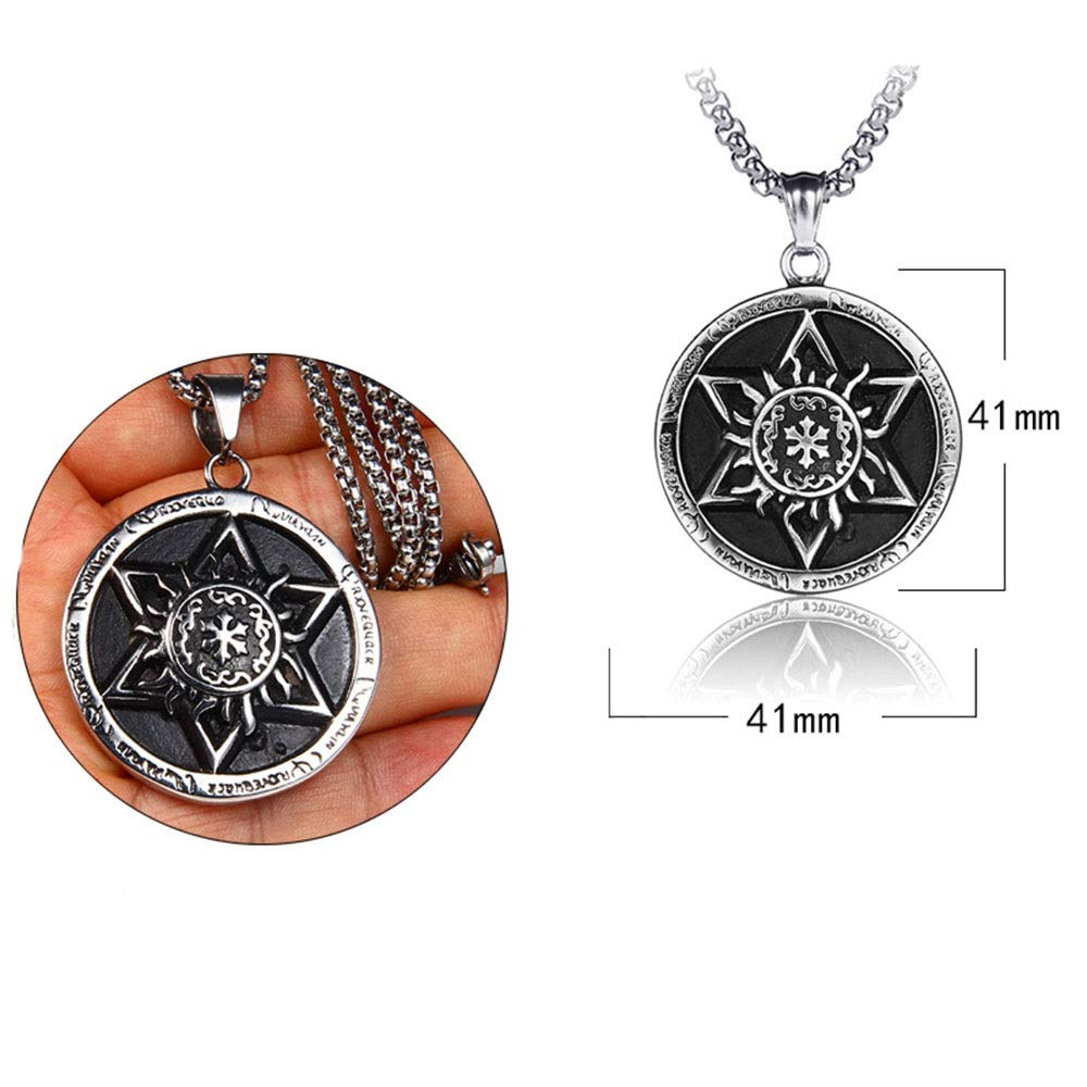 Punk Necklace Pendant Mens 316L Stainless Steel Sun Pendant Gothic Stainless Steel Pendant Necklace Silver Black Punk Necklace Great Gift For Anyone Color : Silver Black , Size : Pendant
