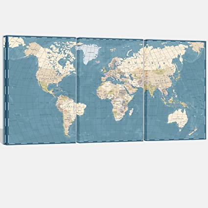 Visual art decor 3 pieces xlarge blue retro world map canvas prints visual art decor 3 pieces xlarge blue retro world map canvas prints atlas framed and stretched gumiabroncs Images